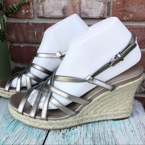 Cole Haan Silver Espadrille Wedges